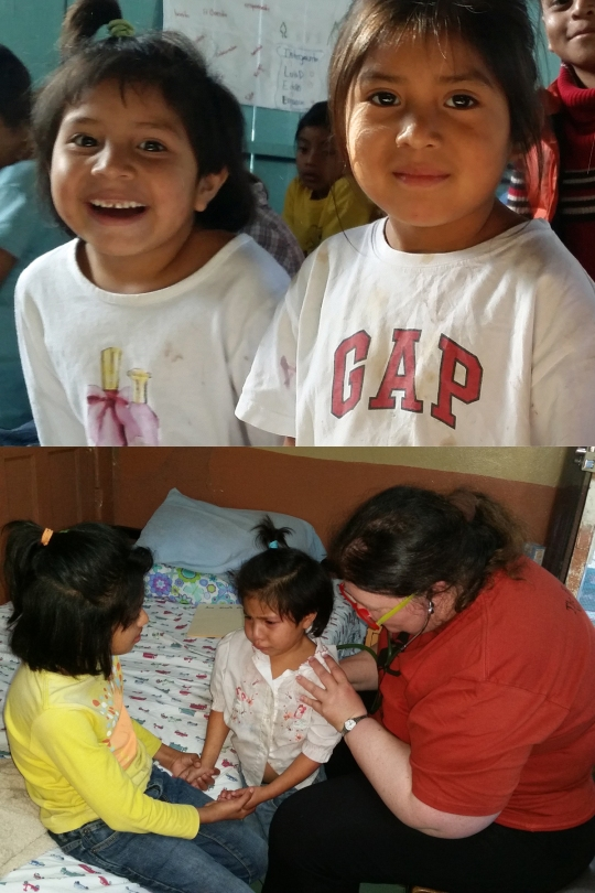 (Top) Ana Nicole (left) laughs with her friend. (Bottom) Ana Nicole (middle) is reassured by her sister, Heydi (left), during her medical check-up.